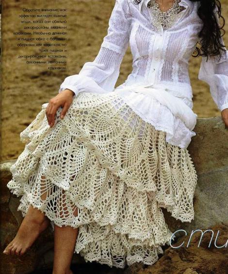 Patron Crochet Falda Capas