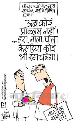 Holi cartoon, festival, indian political cartoon, vote bank cartoon, congress cartoon, assembly elections 2012 cartoons