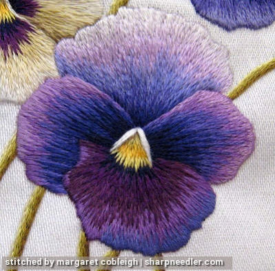 Last thread painted purple pansy (detail). (Pansies designed by Trish Burr)