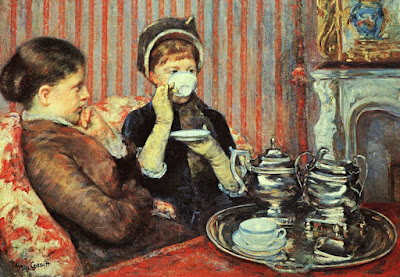 Two women for tea public domain