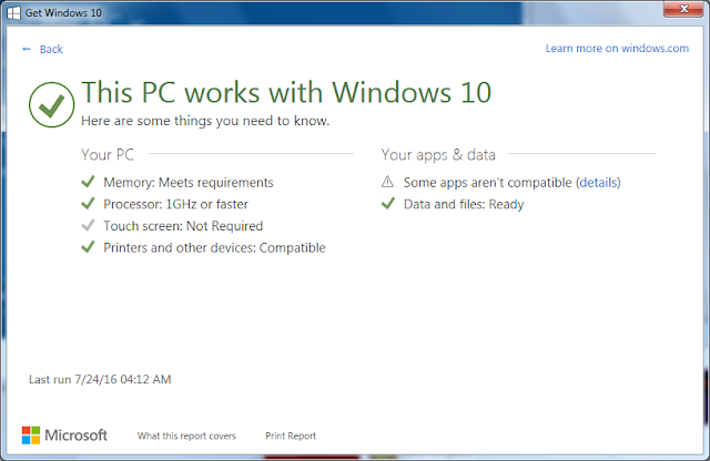 Microsoft PC works with Windows 10 compatibility test update
