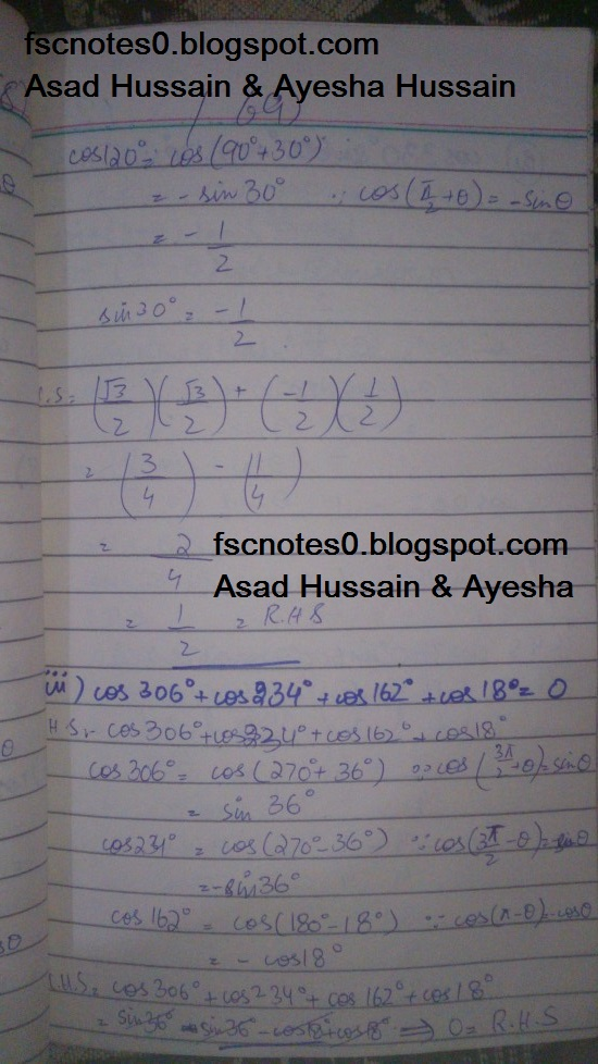 FSc ICS FA Notes Math Part 1 Chapter 10 Trigonometric Identities Exercise 10.1 Question 3 written by Asad Hussain & Ayesha Hussain 1