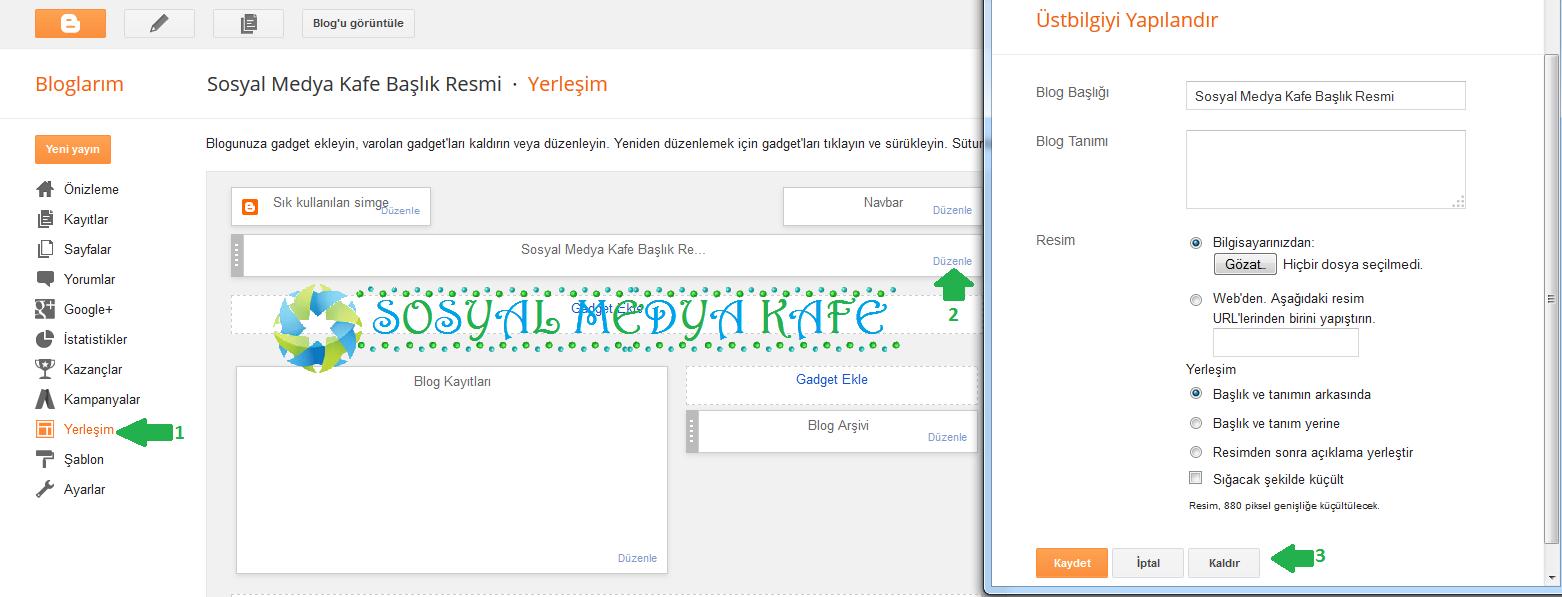 blogger üst bilgi gadget widget kaldırma