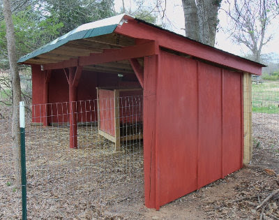 goat shelter painted and ready for goats