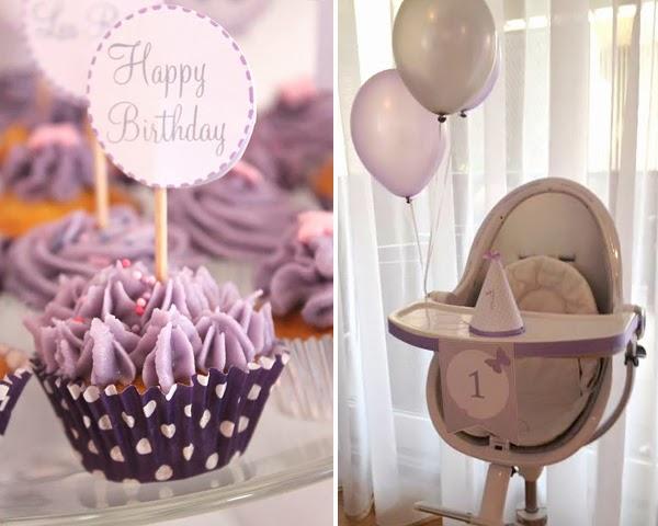 cupcake violet pour le theme d'anniversaire papillon