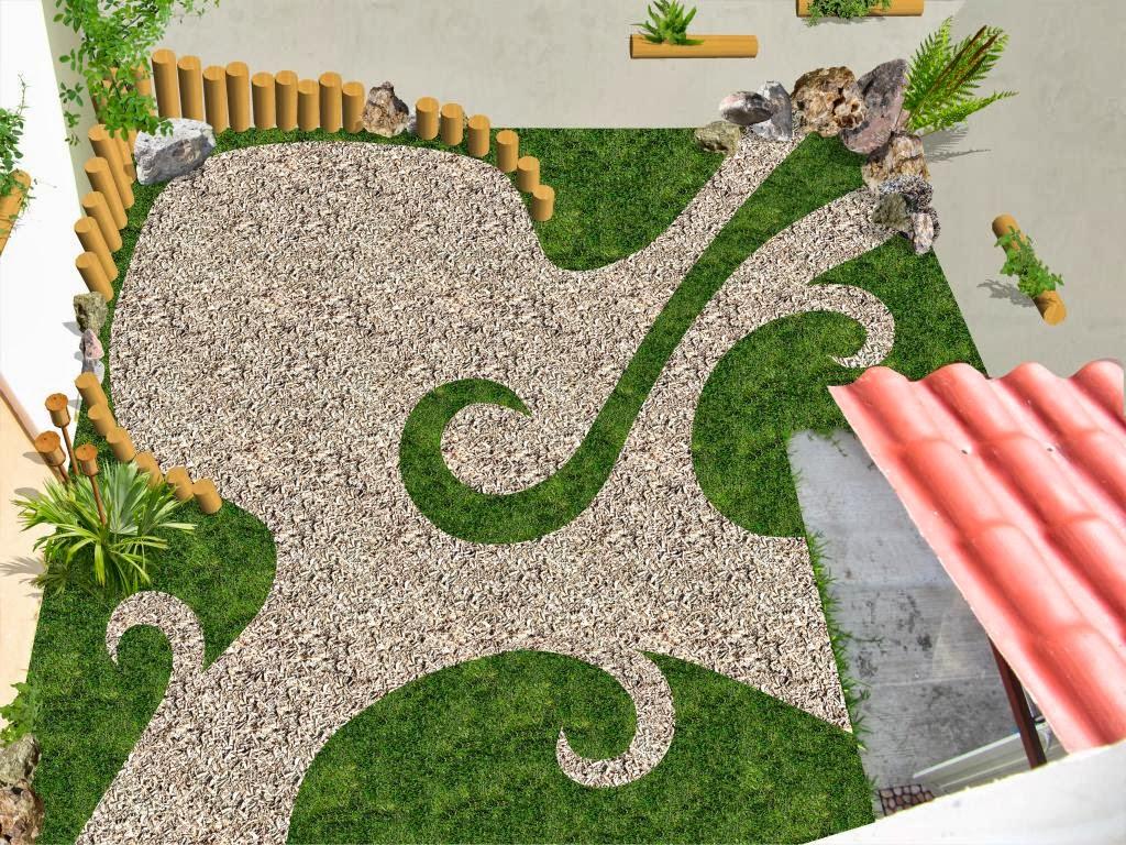 Jard n creativo con pasto gravilla y bamb dise os para Casa minimalista con jardin