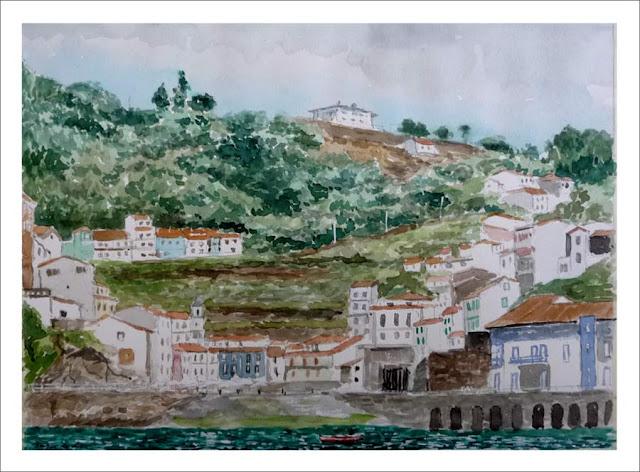acuarela de Cudillero, Asturias.