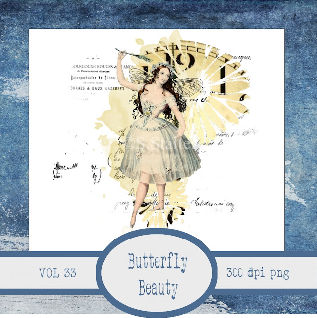 Vintage Ephemera Butterfly Beauty Scrapbook Art Journal Page Element