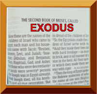 A photo of the first page in the Old Testament book of Exodus with Exodus written in red capital letters in a light orange colored frame (d)ErikaGrey
