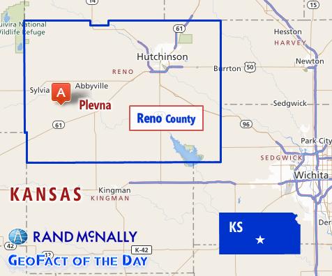 Map of Plevna, Kansas