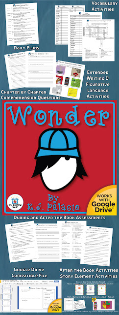 How to use a novel study book unit approach with Wonder by R.J. Palacio