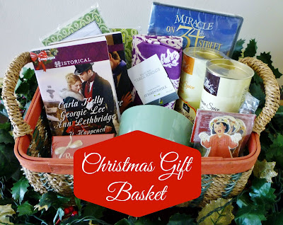 Christmas Gift Basket, gift basket, wine, chocolate, Christmas, tea cup, Christmas romance novel, christmas book, ornaments, tea towel, miracle on 34th street