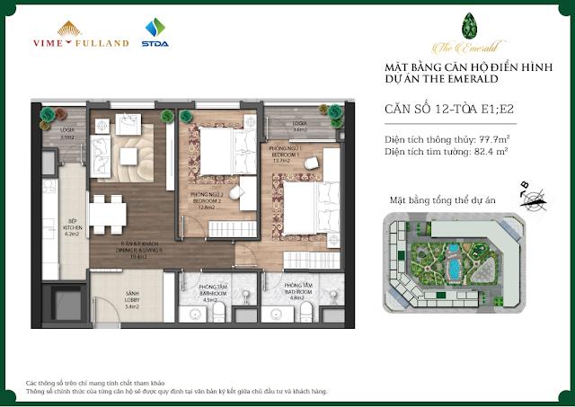 Thiết kế căn 12 tòa E1 - E2