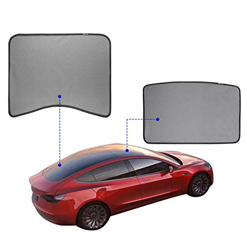 Dasbecan Upgrade Model 3 Sun Shades Car Sunroof UV Rays Protection Window Shade for Tesla Model 3 Half Covered Rear Sunshade Type with Free UV and Heat Insulation Film