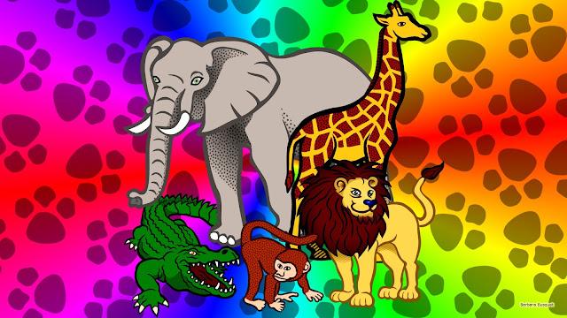 Vijf dieren uit Afrika