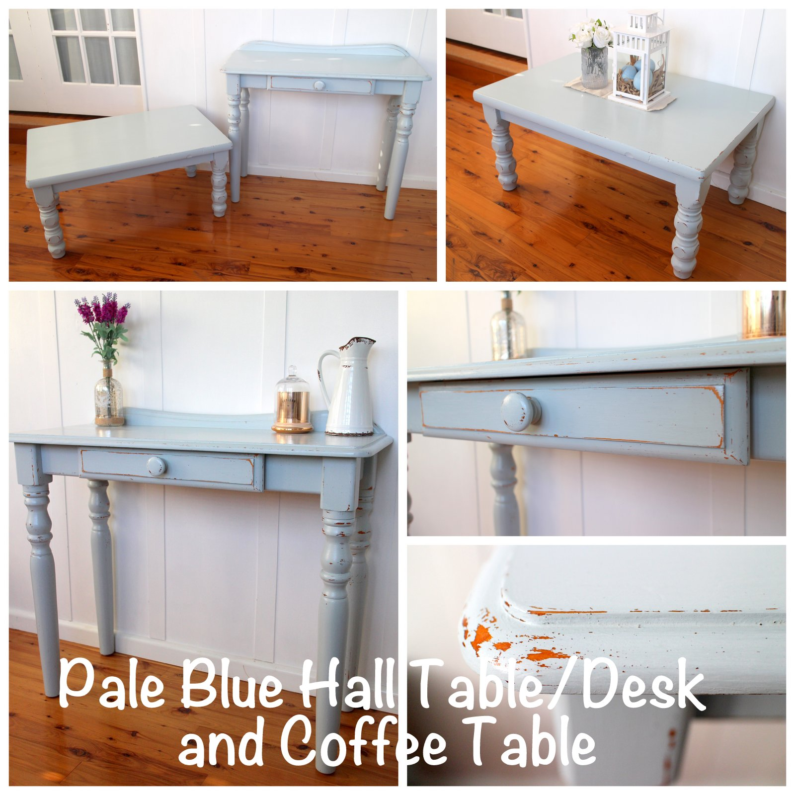 pale blue hall table desk and coffee table