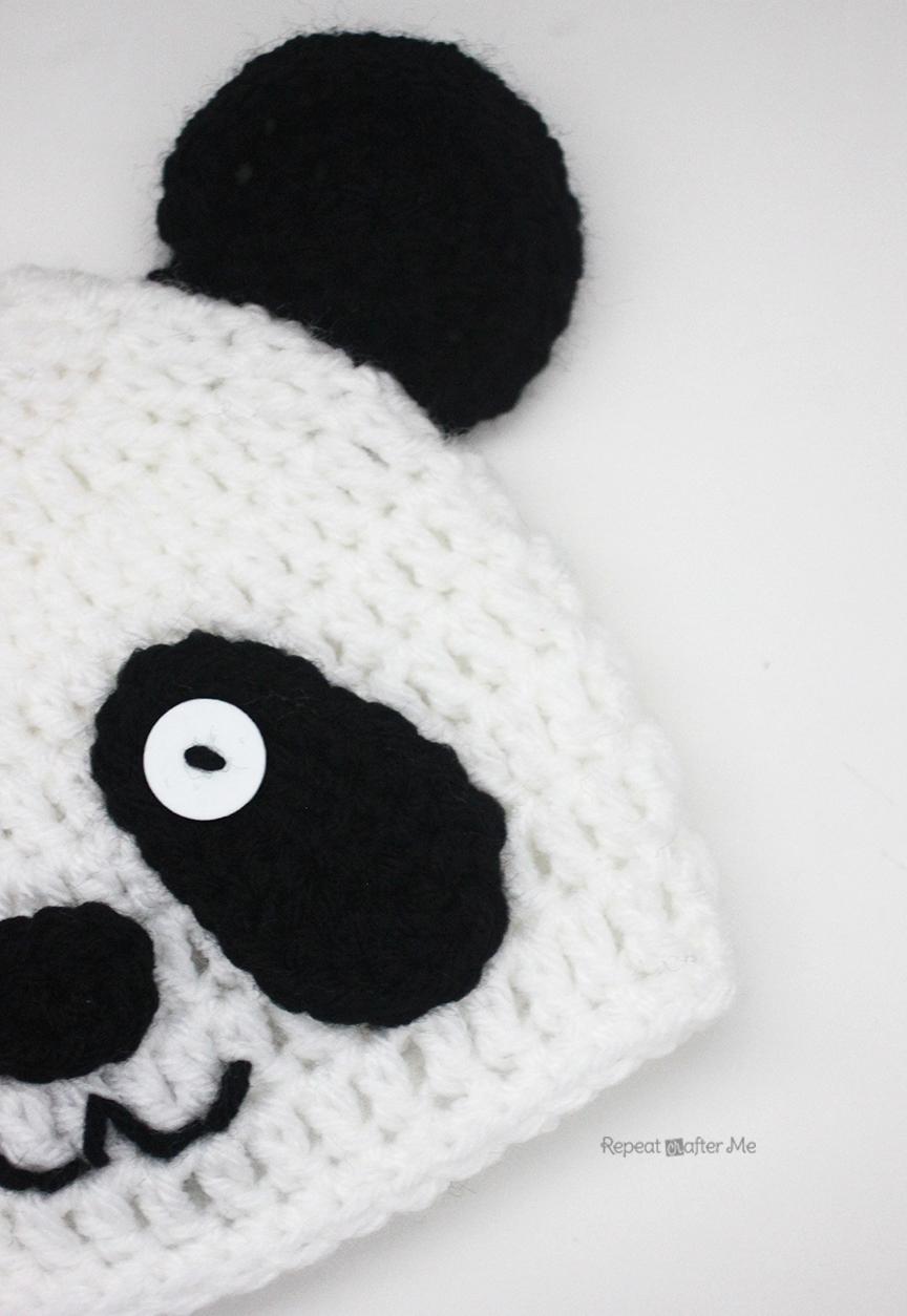 Crochet Panda Bear Hat - Repeat Crafter Me