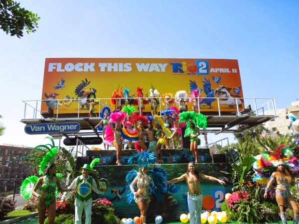 Rio 2 living Mardis Gras carnival dancer billboard Sunset Strip