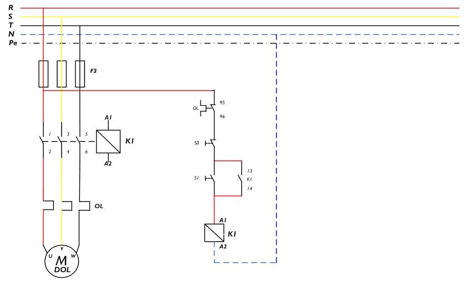 Gambar rangkain kontrol dan daya R DOL (di luar panel)