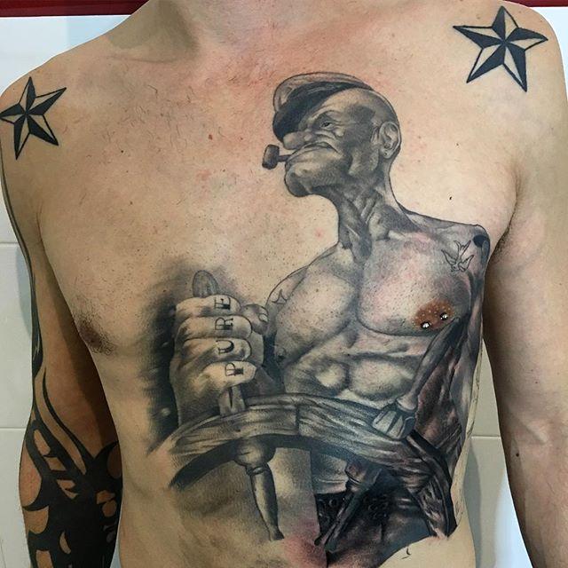 3d popeye tattoo on chest