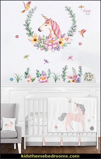 Unicorn Flower Decorative wall Stickers for Childrens Bedrooms, Nursery, Playrooms  unicorn bedding - unicorn decor - unicorn bedroom ideas - unicorns - Unicorn & Rainbows bedrooms -  unicorn duvet - fantasy theme bedroom decorating ideas - fairytale bedrooms decor - pegasus decor - unicorn wall murals - Unicorn bedroom decor - unicorn wall decals