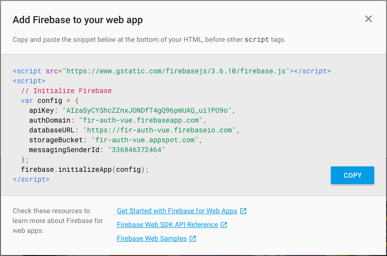 Config and initialise firebase in HTML
