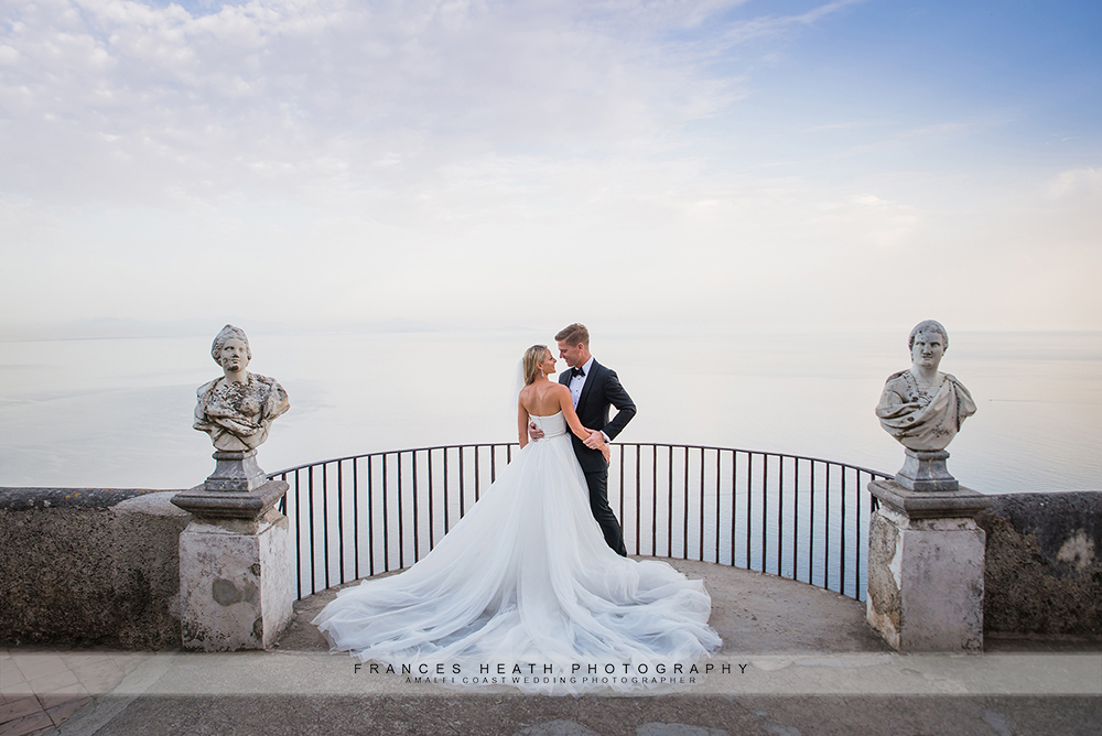Bride and groom on Infinity terrace in Ravello