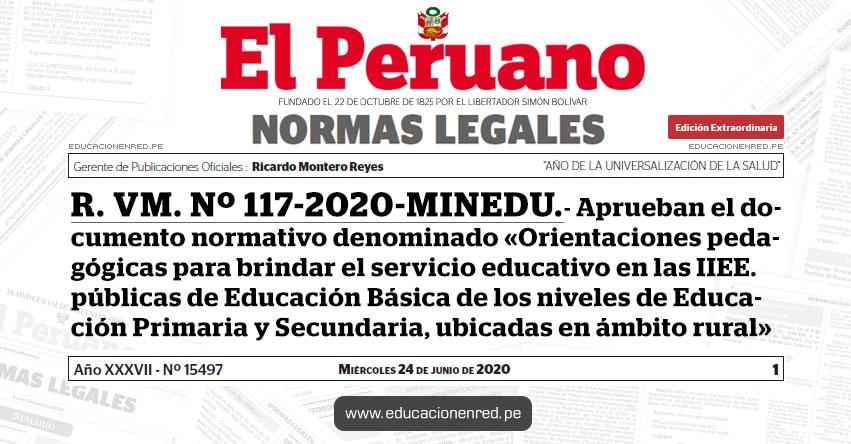 R. VM. Nº 117-2020-MINEDU.- Aprueban el documento normativo denominado «Orientaciones pedagógicas para brindar el servicio educativo en las Instituciones Educativas públicas de Educación Básica de los niveles de Educación Primaria y Secundaria, ubicadas en ámbito rural»
