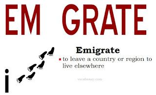 vocabeasy.com, emigrate, migrate