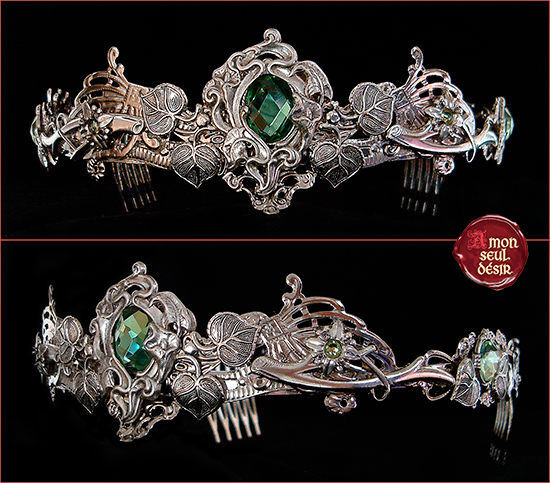 Couronne argent dame nature elfe forêt vert péridot green nature circlet silver wiccan fairy elven crown green vegetal floral greenman jewelry woodland wedding bridal