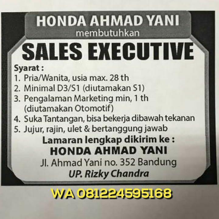 Lowongan Kerja Honda Ahmad Yani