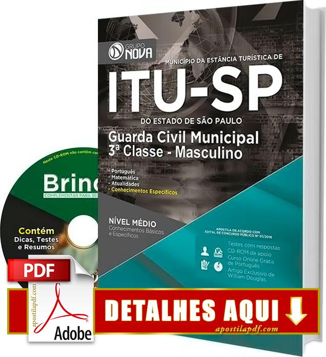 Apostila Prefeitura de Itu 2016 Guarda Municipal Impressa