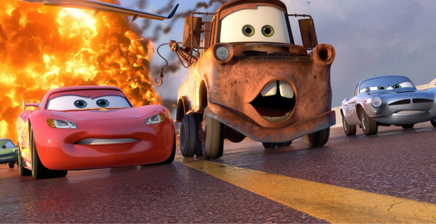 Lightning McQueen and Mater burning rubber in Cars 2 2011 animatedfilmreviews.filminspector.com