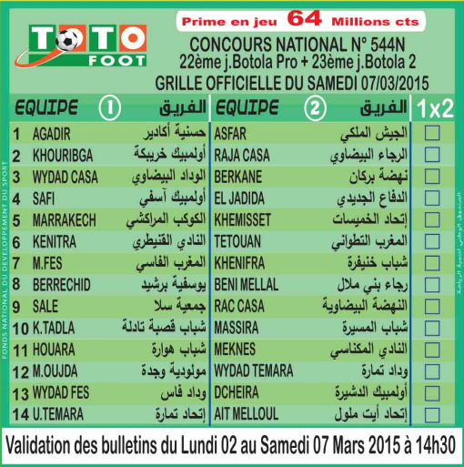 TOTO FOOT COUNCOURS NATIONAL N 544N