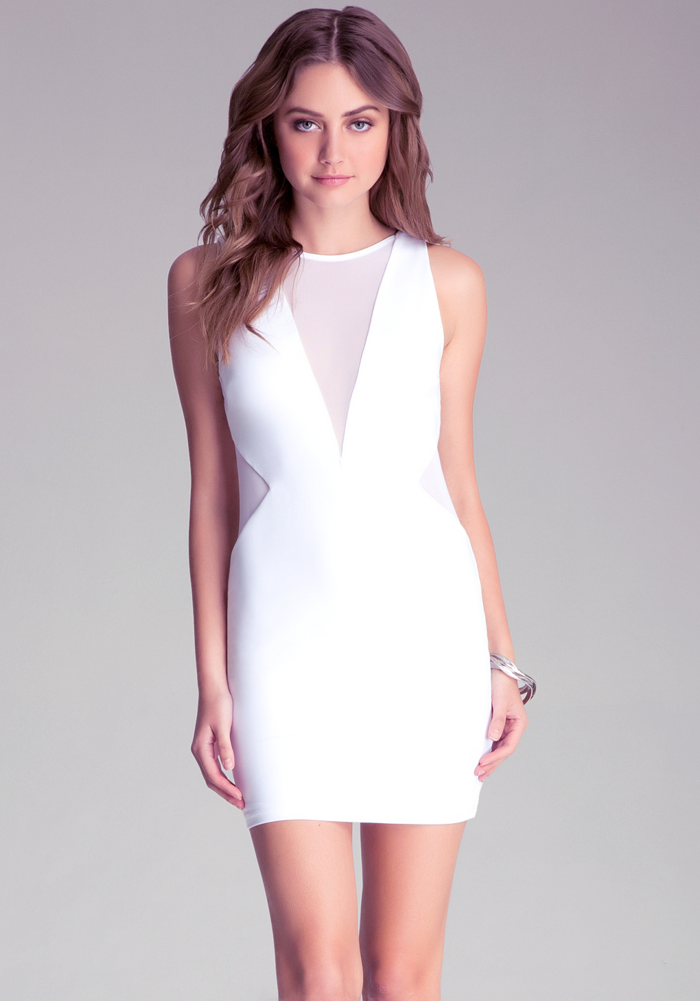 Option Contract - Mesh Inset Knit Dress, sexy white dress for a hot summer night out