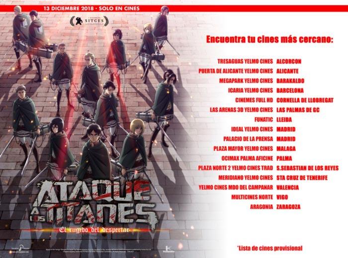 Ataque a los titanes: El rugido del despertar - Selecta Visión - Lista de cines