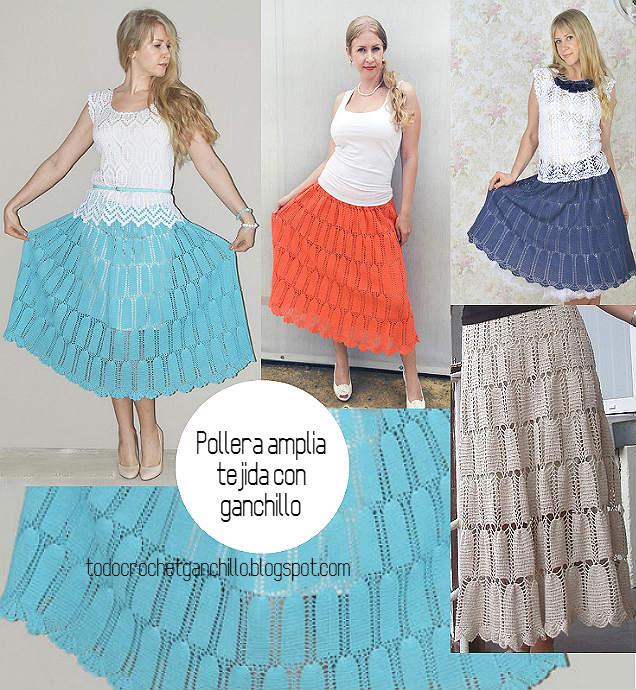 falda amplia para tejer a crochet