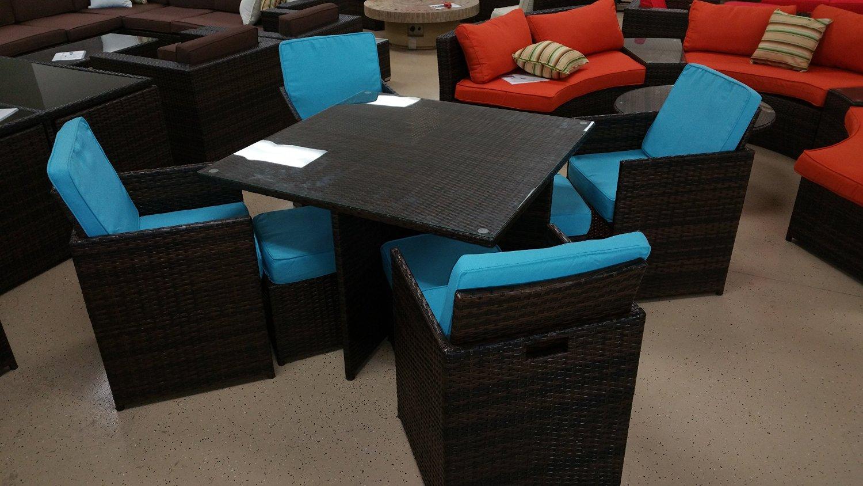 Outdoor Rattan Furniture Sunbrella 9 Piece Outdoor Wicker Rattan Patio  Dining Table Set (Aqua Blue)