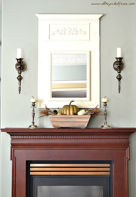 fall, mantel, simple fall mantel, mantel decorations, cherry mantel