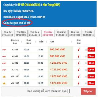 Giá vé máy bay lễ 30/4 - 1/5 Hồ Chí Minh đi Nha Trang