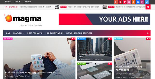 Magma Responsive Magazine Blogger Templates