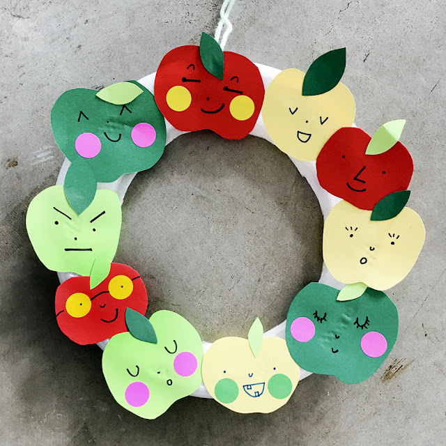 Apple Wreath Craft for Kids | Linzer Lane Blog | September Craft, Classroom DIY, Teachers, Paper Craft