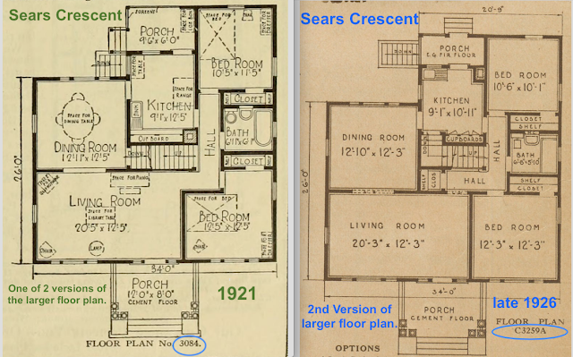 Sears Crescent large floor plan pre-1926 and post-1926