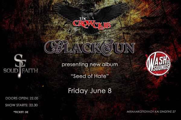 BLACKSUN: Παρασκευή 8 Ιουνίου, παρουσίαση νέου album @ The Crow Club w/ Solid Faith και Wash of Sounds