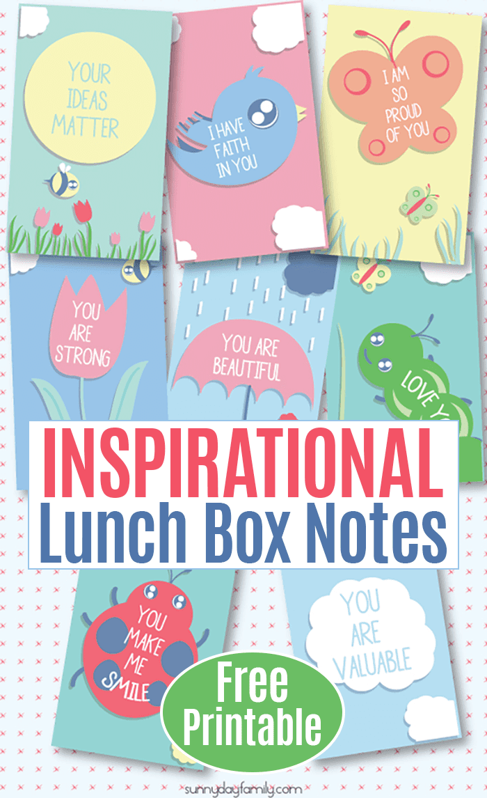 Inspirational lunch box notes your kids will love! Perfect for spring with fun designs, these positive messages of encouragement will help your child throughout the day. #lunchboxlove #positiveparenting #freeprintables #forkids