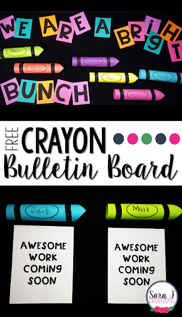 FREE Crayon themed bulletin board idea for the back to school season! Printables included!