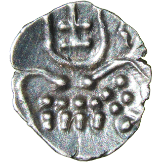 Stylised lion/sardula to right