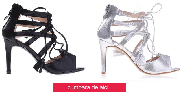 Sandale elegante cu toc cu siret si barete negre, argintii