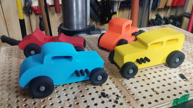 A Full Set of Hot Rod Freaky Ford Toy Cars Made From MDF