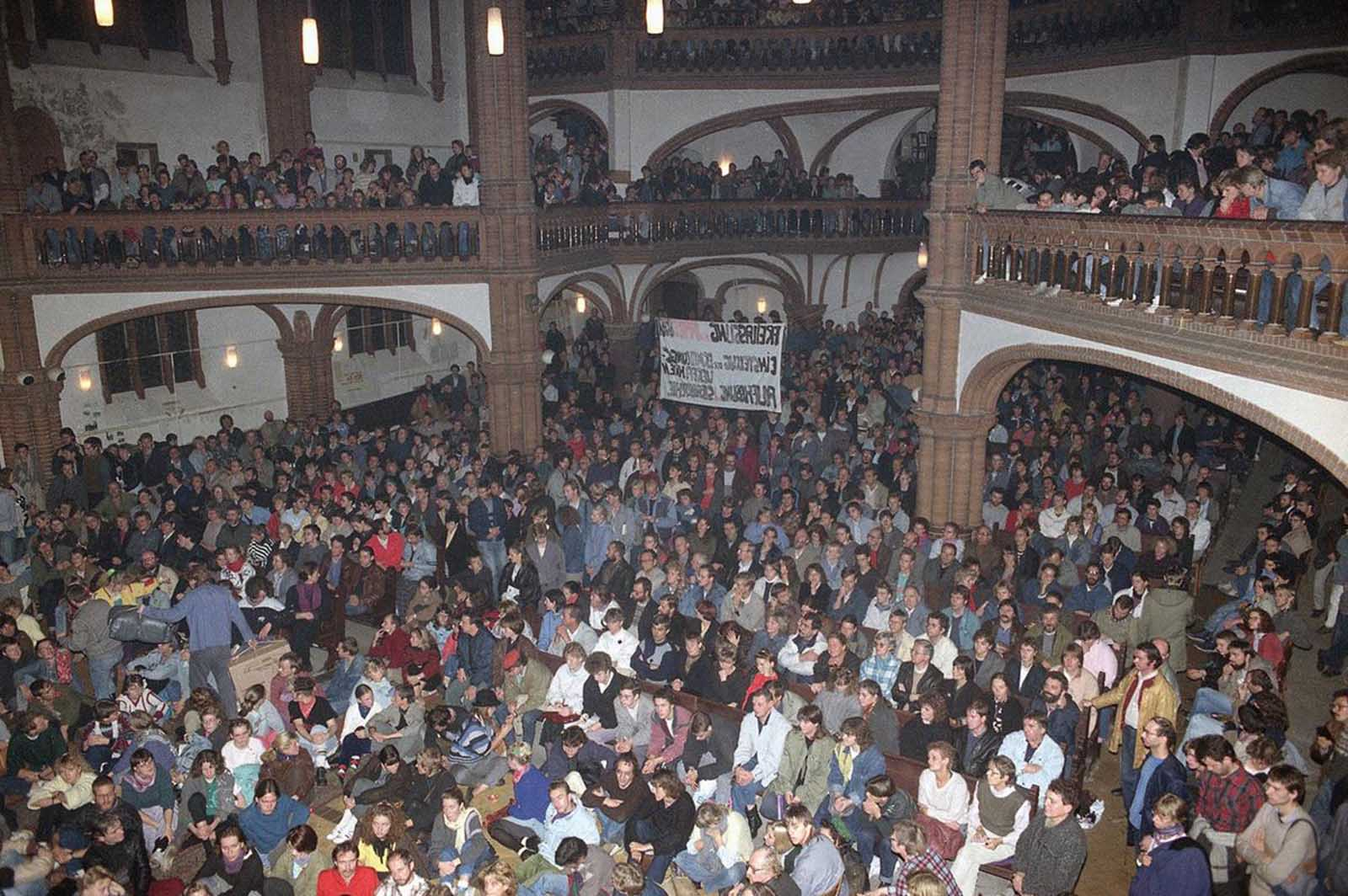 A general view of the overcrowded East Berlin Gethsemane Church on October 12, 1989. About 1,000 East Germans took part in a prayer service here for imprisoned pro-democracy protesters. The church was the focus of protests in the final days of the wall.